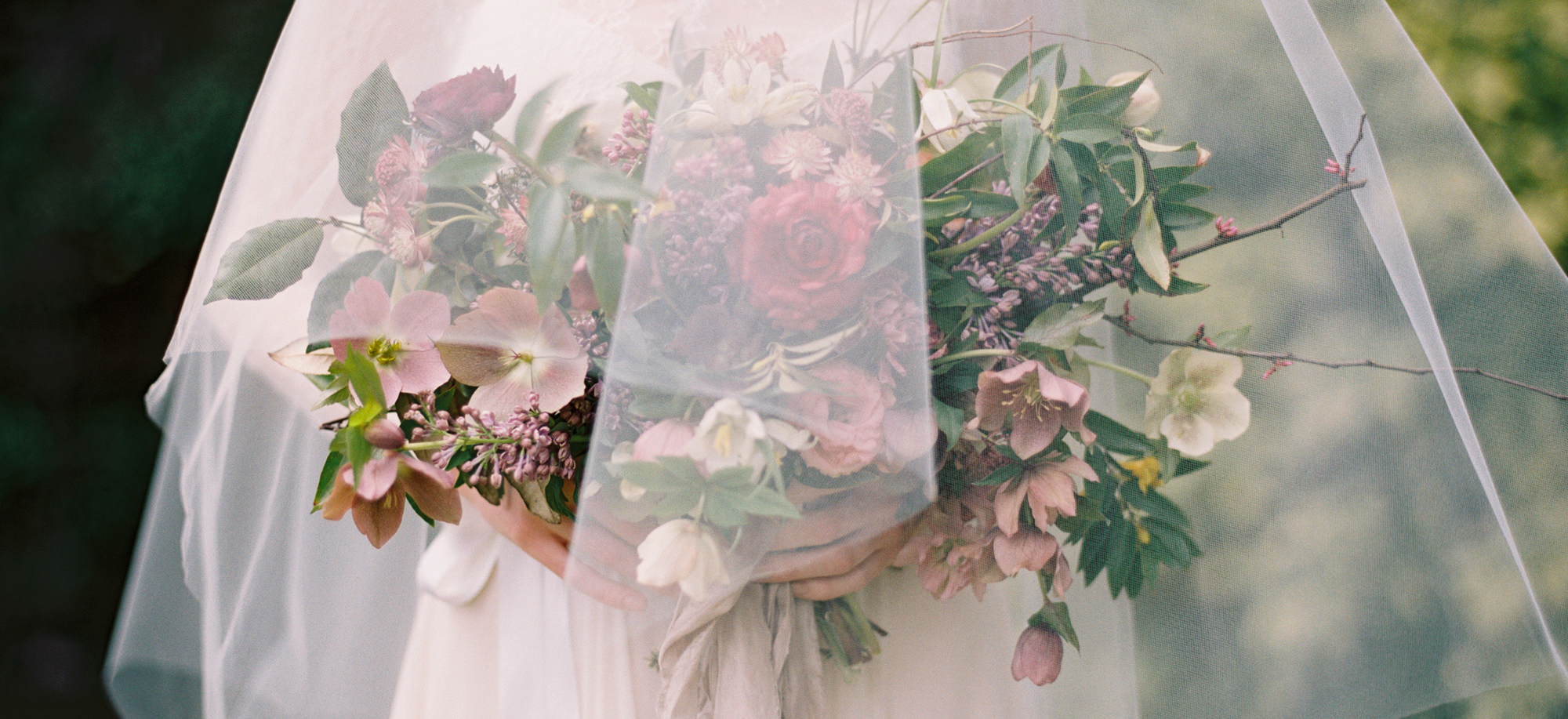 wedding flowers under veil